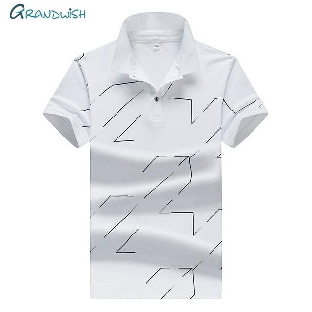 3b8061079dcd5 Grandwish New Casual Men Polos Brand Printed Mens Polo Summer Breathable Short  Sleeve White Green Business Polo Male Tops