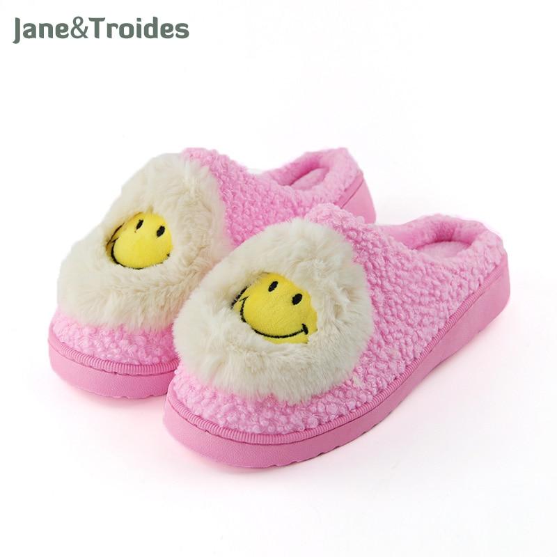Winter Smlie Plush Women Slippers Warm Thicken Anti Slip Flip Flops Fleece Funny Sandals Casual Woman Home Shoes