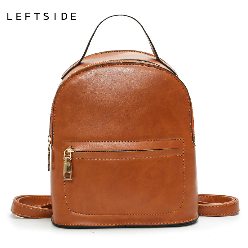 LEFTSIDE Famous Brand Women Backpacks Solid Vintage Feminine Fashion travel Backpack School Bags for Girls PU