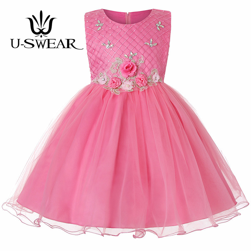 U-SWEAR 2019 New Arrival Kid   Flower     Girl     Dresses   For Party And Wedding   Flower   Appliqued Crystal Beading Vestido Primera Comunion