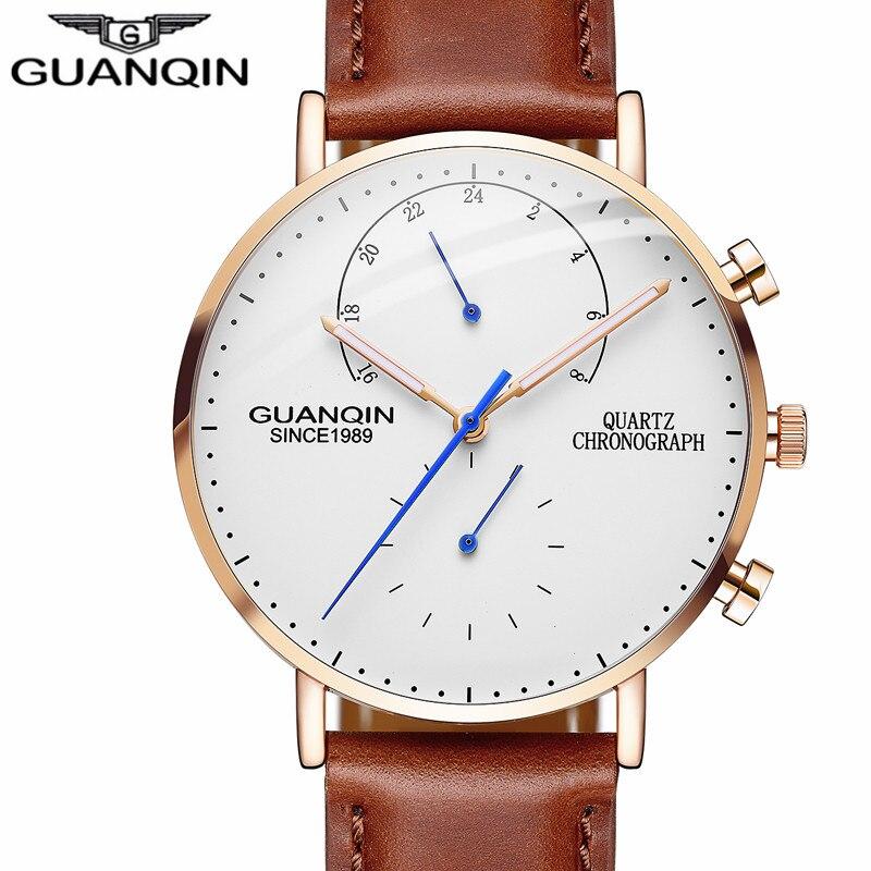 GUANQIN Brand Luxury Watches Men Business Casual Chronograph Clock Leather Strap Quartz Watch Mens Fashion Creative Wristwatch