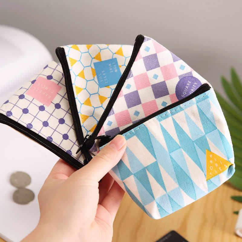 2018 heißer Verkauf Mini Leinwand Geldbörse Geometrische Muster Münze Brieftasche Dame Mode Niedlichen Cartoon Zipper Dollar Geld Tasche