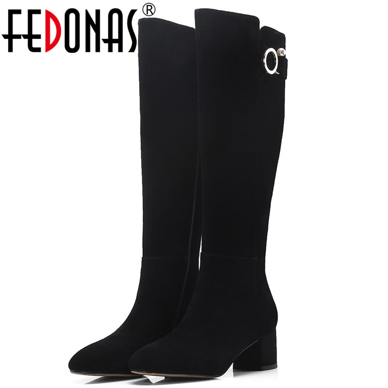 FEDONAS Brand Women Knee High Boots Buckles Long Autumn Winter Zipper High Boots Thick High Heels Cow Suede Motorcycle Boots
