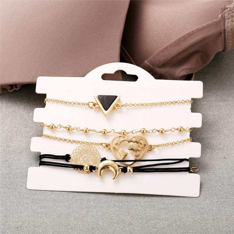 Bohemian Beads Chain Bracelets Bangles for Women Fashion Heart Compass Gold Color Chain Bracelets Sets Jewelry Gifts in Charm Bracelets from Jewelry Accessories