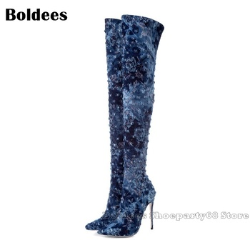 Fashion Vintage Flower Printed Blue Lace Jeans Crystal Designer Over The knee Boots Women Spring Fall Pointed Toe Sexy Long Boot