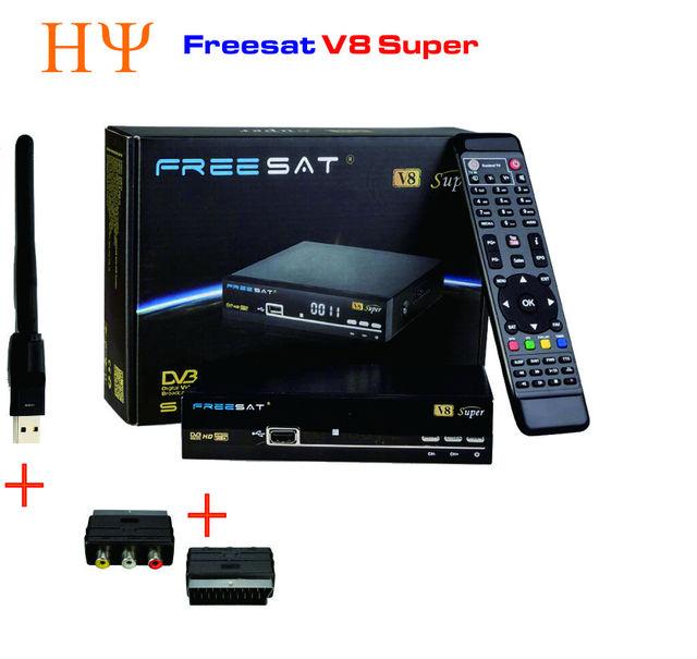 Freesat V8 Super DVB-S2 Receptor de TV Via Satélite + 1 PC USB Wifi apoio Youtube Youporn Cccamd Newcamd Biss Key PowerVu Set Top caixa