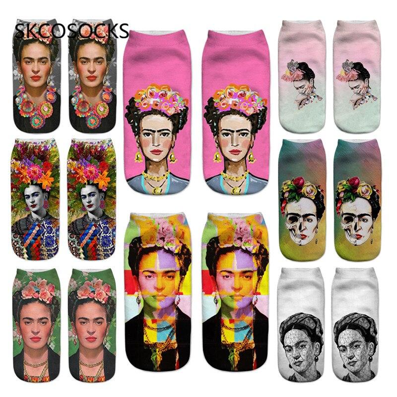 SKCOSOCKS New Fashion Painting   Socks   3D Printed Women's   Socks   Kahlo Art Pattern Boat   Socks   Colorful Harajuku Ankle   Socks
