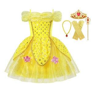 2 4 6 8 10 años niñas La Bella y La Bestia, vestido de princesa Bella de lujo amarillo con lentejuelas, vestido de fiesta para niños, ropa de fiesta