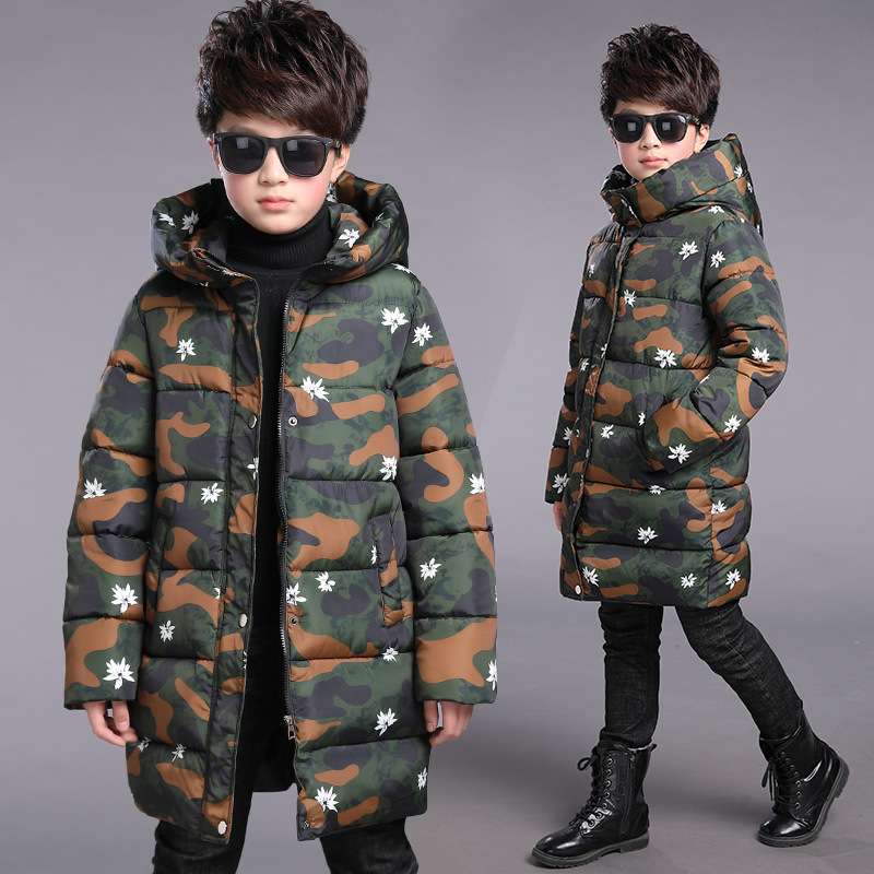 5-16T Casual Boys Parkas Camouflage Winter Thick Warm Jacket Boy Children Hooded Cotton-padded Jackets Outerwear High Quality winter jacket men warm coat mens casual hooded cotton jackets brand new handsome outwear padded parka plus size xxxl y1105 142f