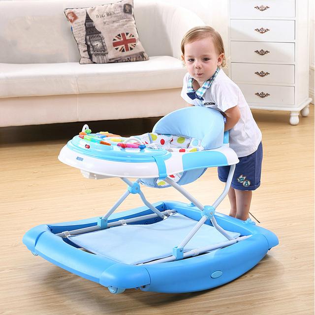 Alta Calidad Andador U Tipo Bebé A Pie de Aprendizaje Coche Anti-Roll Over Niños Multifuncionales Andador Cochecito C01