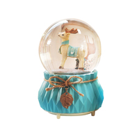 Nordic Elk Colorful Lights 8 Kinds Of Music Automatic Snow Globe Crystal Ball Music Box Creative New Year Gifts Home Decorations