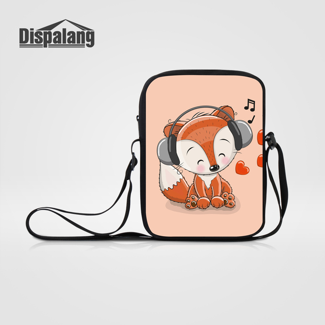 d41b9e621ee5 Dispalang Kawaii Cartoon Fox Printed Women Mini Messenger Bags Female  Travel Shoulder Cross body Bag Animal Flap School Satchels