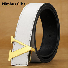 New 2016 arrival famous Brand designer L mens luci belts luxury leather high quality women V buckle hommes belts