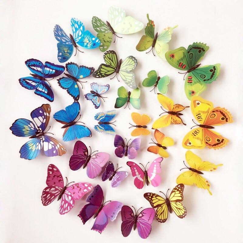 12pcs PVC Wall Stickers For Kids Rooms Magnet Butterflies Wall Decal DIY Fridge Home Decor Art Poster Wallpaper Wall Sticker