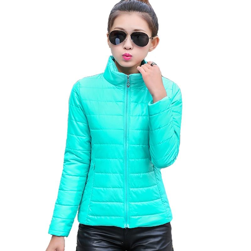 2019 kvinder vinterjakke ultra lys slik farve farve forår jakke kort parka bomuld yderbeklædning jaqueta feminina