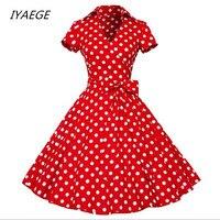 IYAEGE Jesień Nowy Plus Rozmiar S-4XL Kobiety Retro Sukienka Vestidos Slim Fit V neck Krótkie Rękawy Dot Print dress
