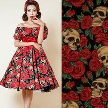 Width140CM hot sale cotton original high-density elastic fabric for dress skeleton and red roses tissu au meter bright cloth DIY