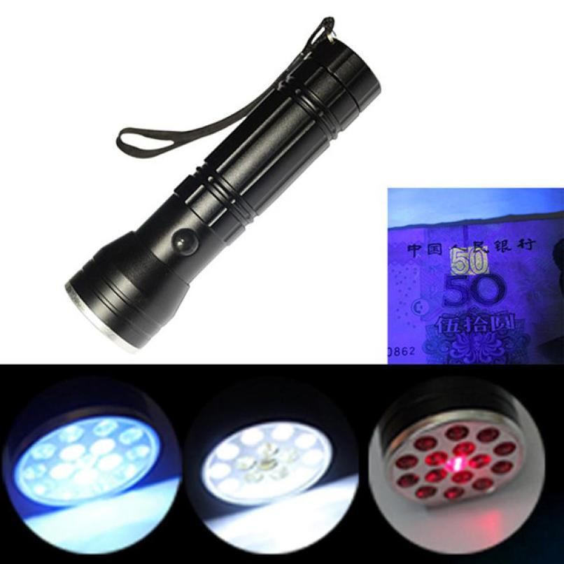 New Black LED Powerful 3 in 1 Multi Function Torch Flashlight Laser Ultraviolet Super Bright Waterproof Strong UV Light PJ5