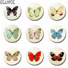 Colorful Butterfly 30MM Glass Fridge Magnet Beautiful Delicate Moth Decoration Refrigerator Magnetic Stickers Note Holder jupiter planet space 30mm fridge magnet jupiter planet glass cabochon note holder magnetic refrigerator stickers home decoration
