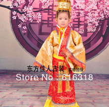 цена на Children's Day Ancient Chinese Little Emperor Costume Boy's Stage Clothing Set (Clothes + Emperor Hat)
