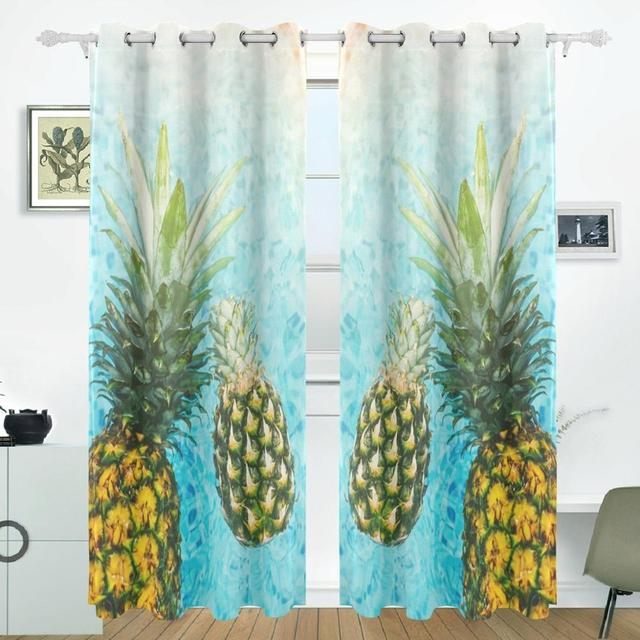 Pineapple Curtains Drapes Panels Darkening Blackout Grommet Room Divider For Patio Window Sliding Glass Door 55x84