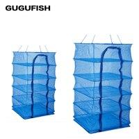 GUGUFISH 4 Layers 35 35 65cm Drying Rack Folding Fish Small Mesh Net Hanging Net Fishing