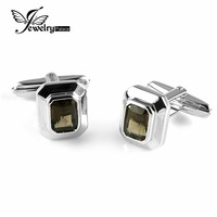 4ct Smoky Quartz Wedding Cufflinks For Men Solid 925 Sterling Sliver Vintage Amazing Charm Fabulous Gift
