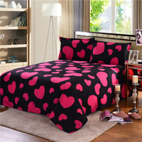 Western Style Bedding Sets Queen Size Rose Red Heart shaped pillowcase&duvet cover set Cute bird child bedclothes leaf cover