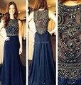 2016 Navy azul gasa larga Prom vestidos sin mangas cristalino moldeado una línea con encanto barato Formal de noche de la celebridad vestido de partido del vestido
