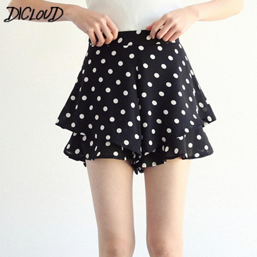 New Korean Dot Print Casual Shorts Women Bohemian Frill Summer Shorts Female 2018 High Waist Loose Wide Leg Short Clothing