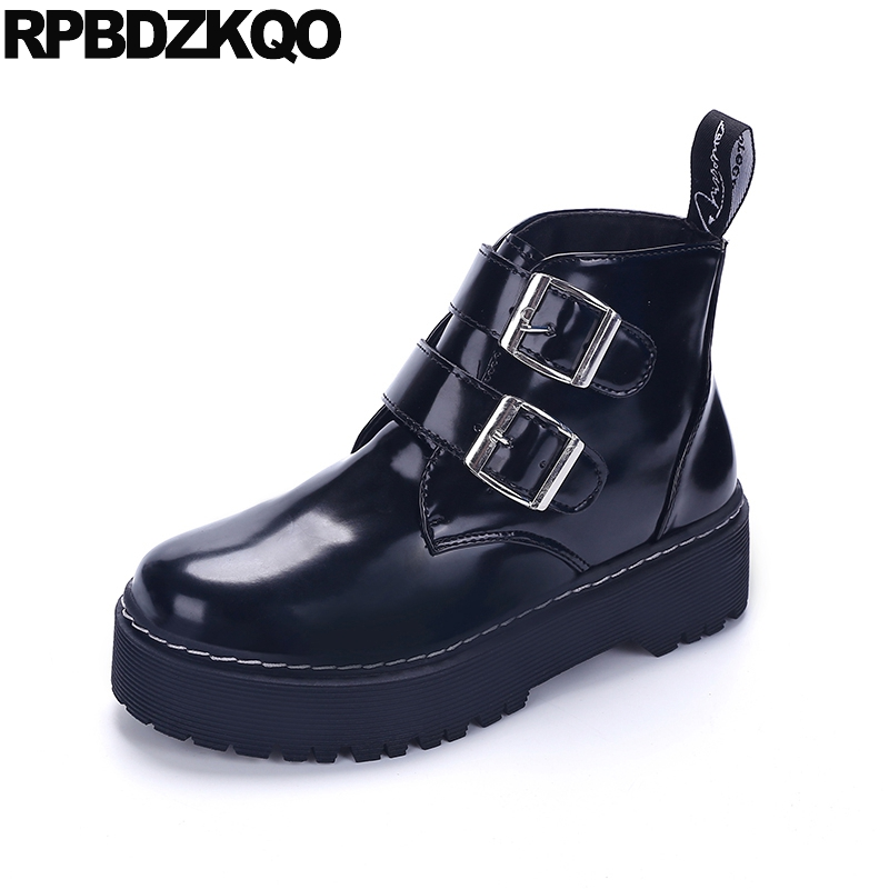 Platform Women Ankle Boots 2016 Round Toe Harajuku Flat Black Booties Creepers Muffin Shoes Waterproof Ladies New Chinese Female creepers women shoes black white striped shoes female casual flat platform shoes round toe thick soled ladies shoes