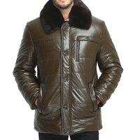 ZEESHANT Da Áo Khoác Nam Casual Thời Trang Jackets Ve Áo Màu Đen và Dây Kéo màu nâu Faux Fur Men Coat 3XL 5XL Jaqueta De Couro