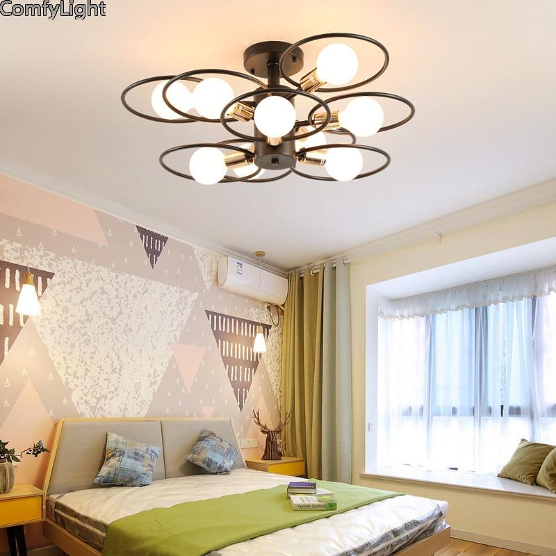 Mordern Nordic led Bulb Light Ceiling Lights Vintage Loft creating E27 Black Iron Art Lamp Fixture Light Living Bed room Attic Ceiling Lights     - title=
