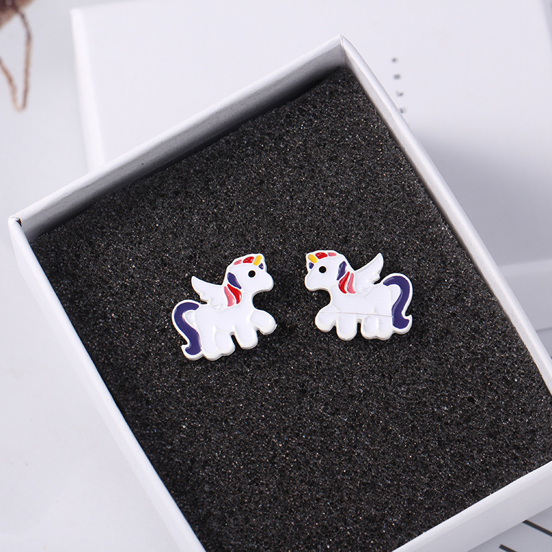 2019 new color glaze dripping rainbow unicorn alloy earrings for women jewelry hot sale
