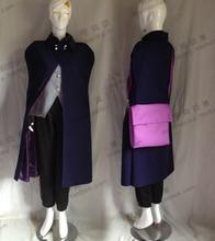 Naruto фильма саске косплей костюм пальто + брюки + жилет + + сумка
