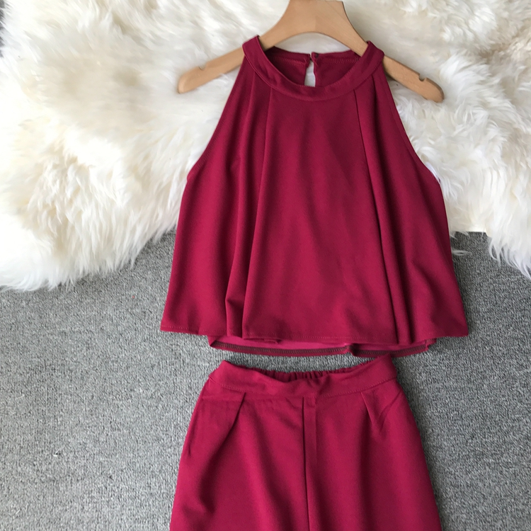 HTB14OH5onZmx1VjSZFGq6yx2XXa7 - two piece set women fashion sexy short top and long pants casual sleeveless Elastic high waist female summer festival clothing