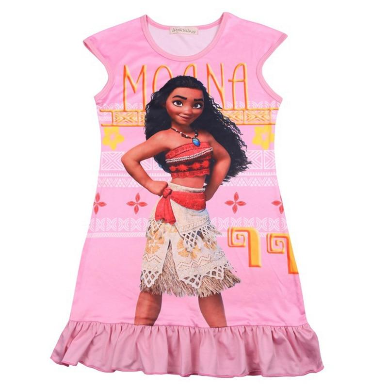 Party Dress girls Dresses 2018 Summer Moana Dress Princess Dress Cotton Teenage Girls Clothing Printed Pattern Kids Clothes 8Yrs