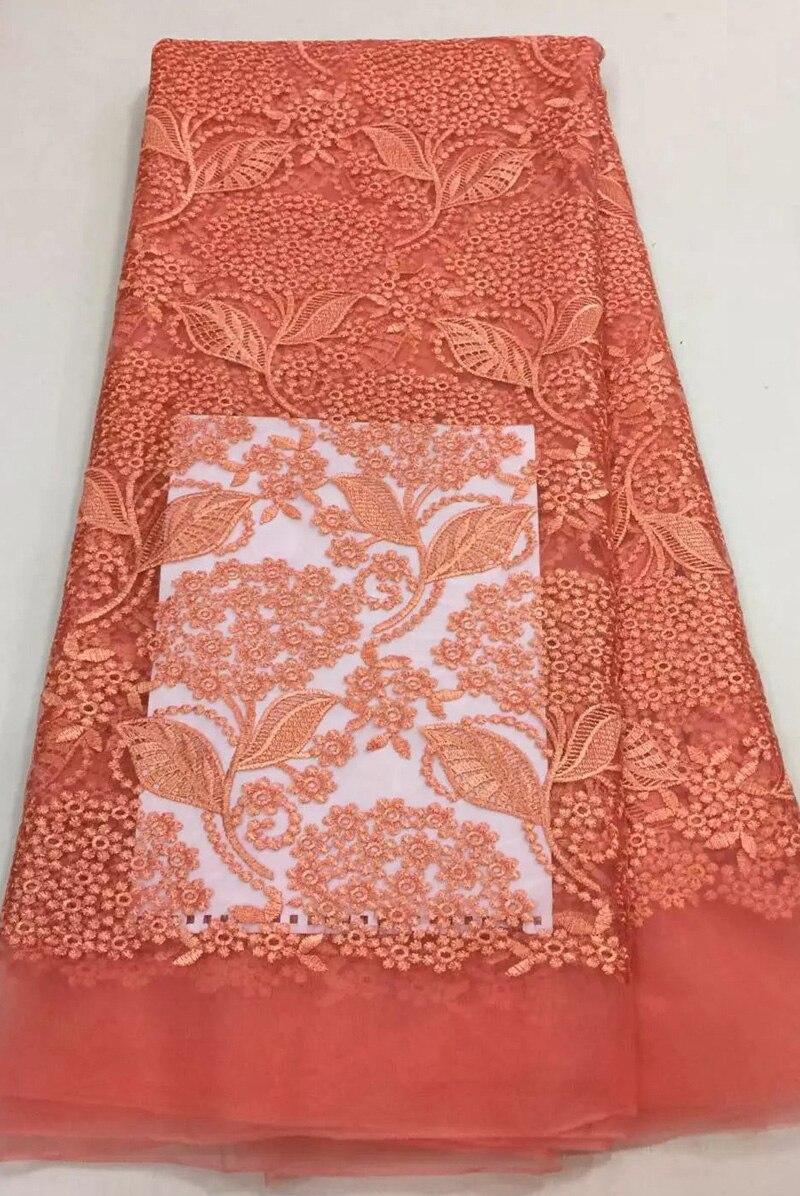 っFrench Fabric Embroidered Tulle Fabric Flower Coral African French ...