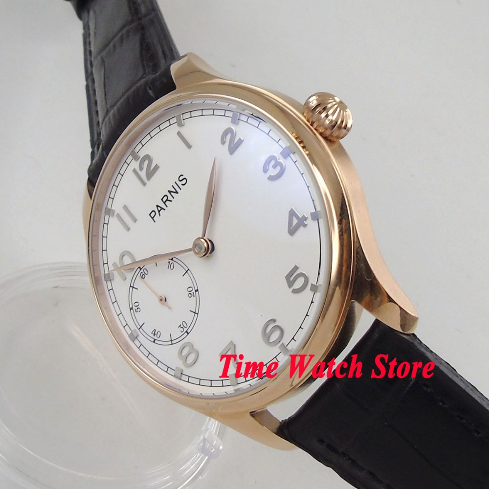 Parnis 44mm Golden case white dial polished golden hands 17 jewels mechanical 6497 hand winding movement men's watch 1043