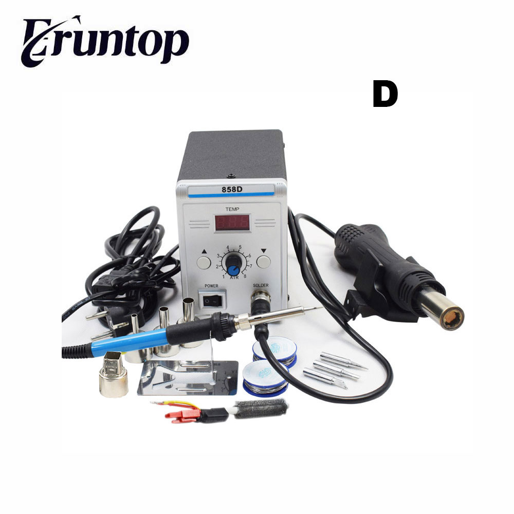 Lead-free Eruntop 858D 8586 Soldering Station LED Digital Solder Iron Desoldering Station BGA Rework Solder Station Hot Air Gun