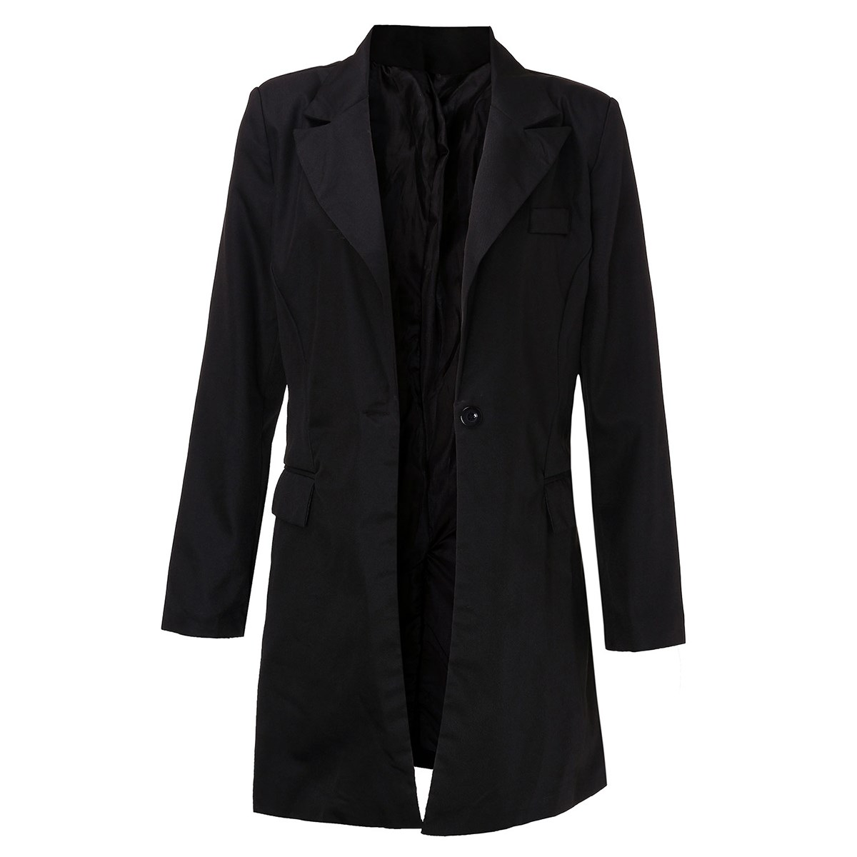 ZANZEA 2019 Womens Spring Blazer Outwear Fashion Long Sleeve Lapel Collar Single Button Elegant Black Long Coat Blazer Feminino