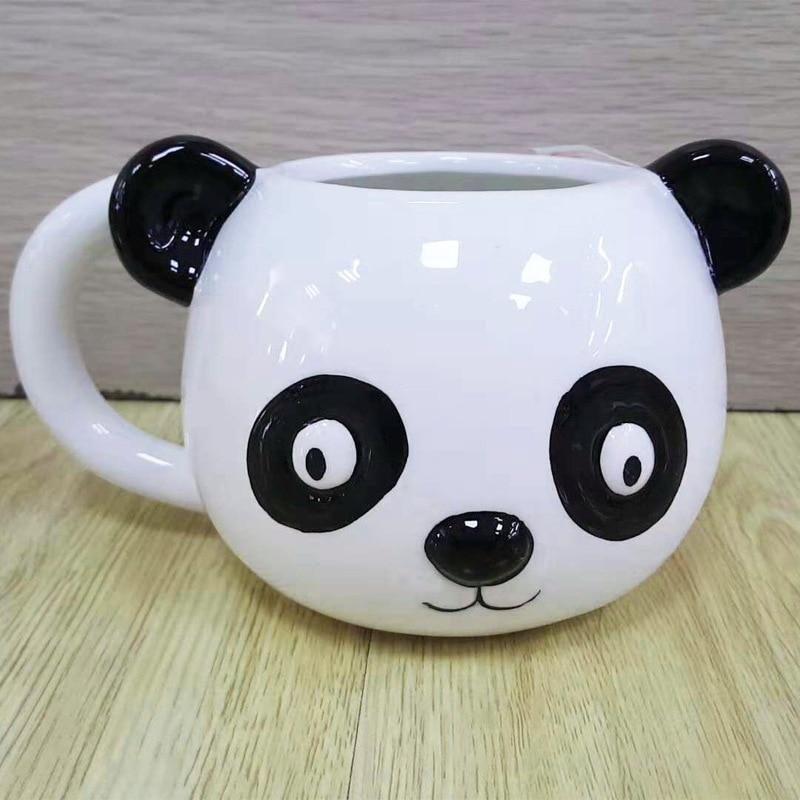 Creative Cute Cartoon Animal Hot Mug Tea Cup Milk Coffee Cup Panda Tiger Penguin Bear Ceramic Drinkware Hand-painted Gift
