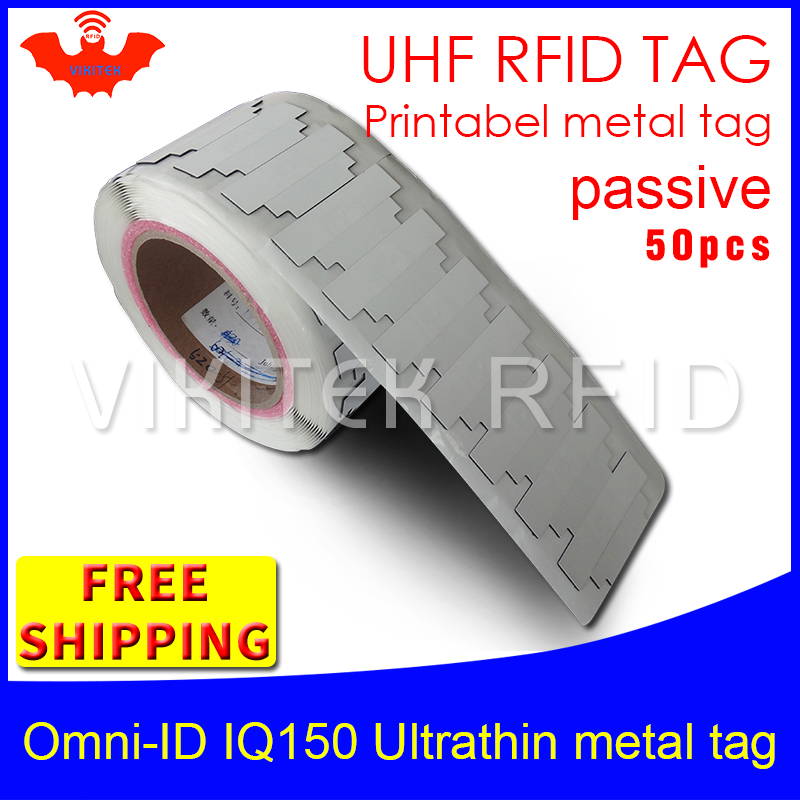 UHF RFID ultrathin anti-metal tag omni-ID IQ150 915m 868m Impinj MR6 50pcs free shipping printable small passive RFID tags 550s041m4f0k0l d sub backshells tag rng splt shrnkbt grv mr li