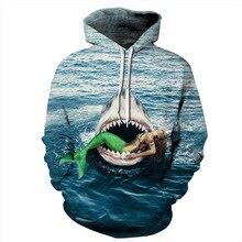 2019 Mermaid Shark Hoodie Hoodies Autumn Winter Brand Clothing Men Casual Pullover 3D Hoody Tops sweatshirts
