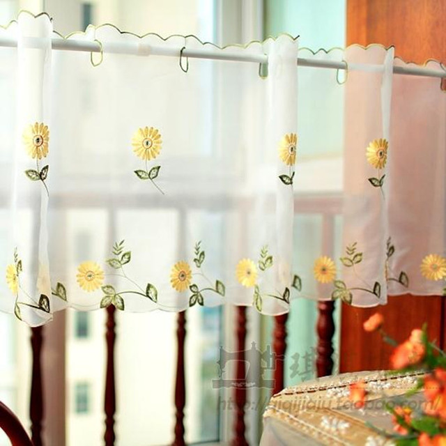Fresh Pastoral Style Yellow Embroidered Daisy Coffee Curtain Translucidus  Decorative Kitchen Curtain Finished Curtain