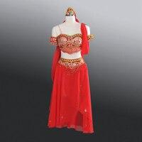 Профессиональный Латинской балетные платья арабских Двойка производительность балетки топ бюстгальтер юбка с шарфом индийский в Одежда д
