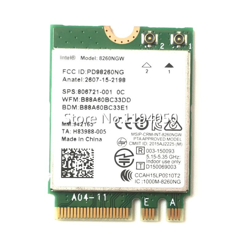 Intel Dual Band Wireless-AC 8260 Intel 8260NGW NGFF Wwifi kártya 867Mbps 2,4 / 5GHz 802.11a / b / g / n / ac Bluetooth 4.2