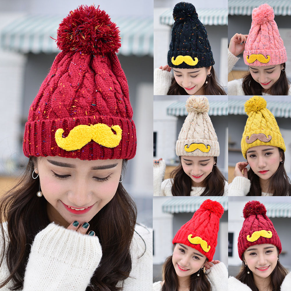Women Winter Warm Knitted Crochet Moustache Design Hat Beanie Slouch Cap CS163 HATCS0163