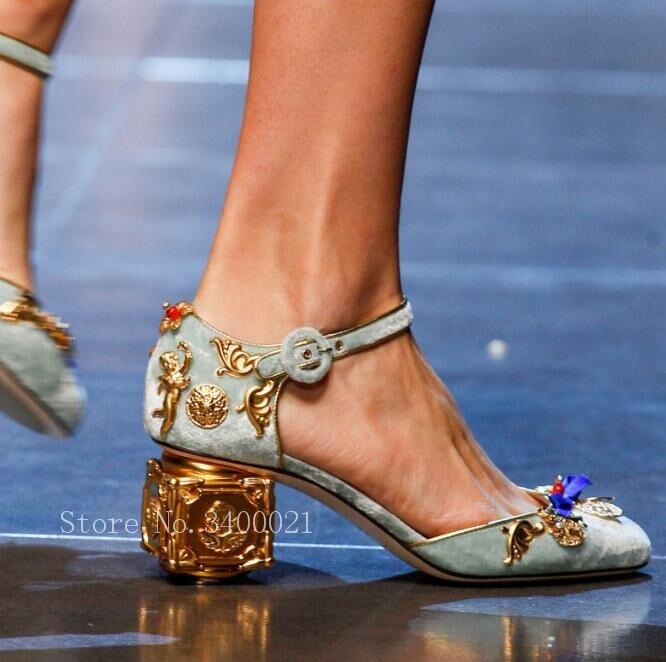8d6d66c6179024 2019 Summer Sandals Metal Flowers Decor Square heel With Jewel Retro Luxury  Pumps Buckles Shoes Woman