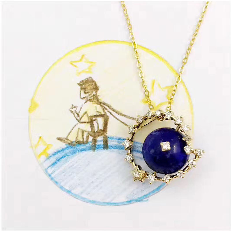ANI 18K Yellow Gold (AU750) Wedding Pendant Necklace Natural Opal Certificate Real Diamond Women Chain Necklace for Birthday